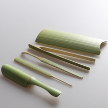 Natural bamboo 5 pcs Tea tools set Hand-carved Include needle clip tray spoon vintage handmade kung fu tea accessories