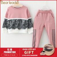 Bear leader/комплекты одежды для девочек новая осенняя одежда для активных девочек детская одежда свитер с рисунком + штаны, костюм 3-7Y