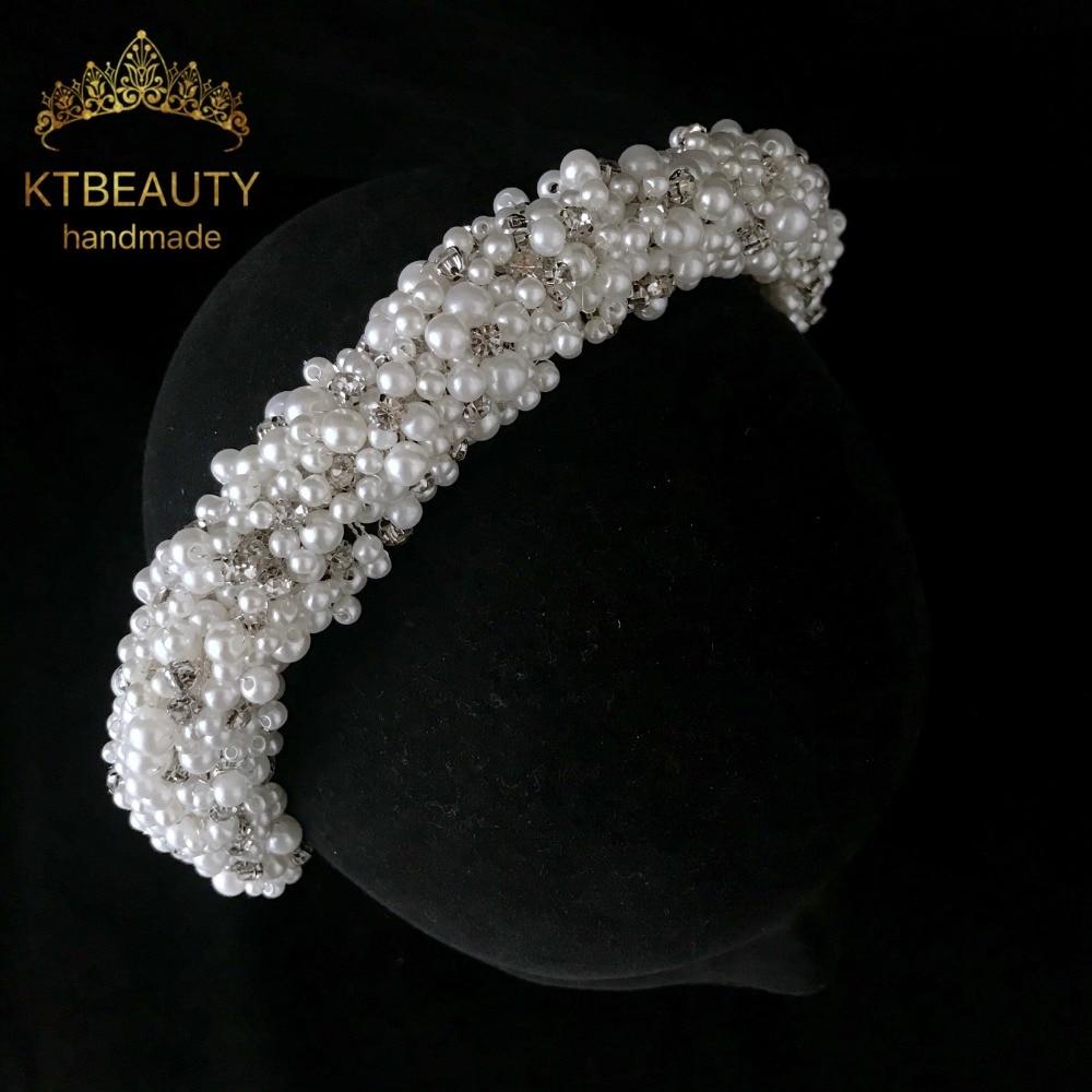 New Rhinestone Silver Pearl Custom Made Big Tiara Handmade Headpiece Royal Bridal Wedding Dressing Crown Accessory