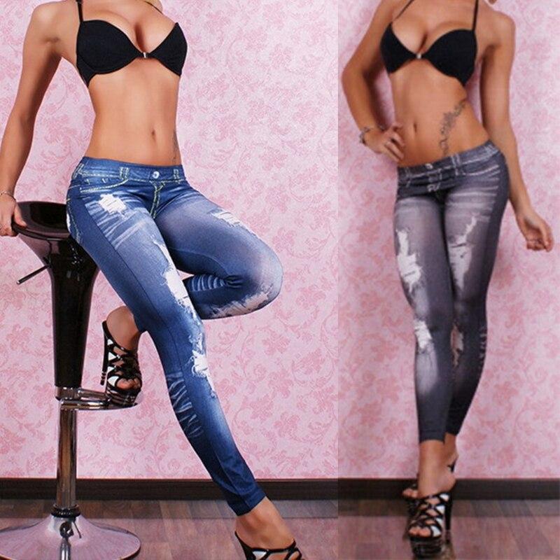 New Woman Fashion Jeans Blue Black High Waist Faux Denim Stretch Pencil Pants Jeans Leggings