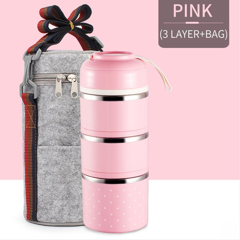 Милые детские Термальность Коробки для обедов герметичность Нержавеющая сталь Bento box для детей Портативный Пикник школа Еда контейнер Box - Цвет: Pink 3 With Bag