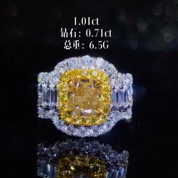 wedding engagement ring classic luxury square 18k gold diamond jewelry certificated natural Yellow diamond ring women 1