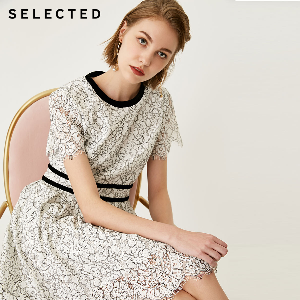 SELECTED Laced Cut out Midi Dress S 41832J522
