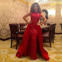 Custom Red Party vestidos de festa Robe de soiree Cheap Lace Long Prom gown With Detachable Skirt Mother of the Bride Dresses
