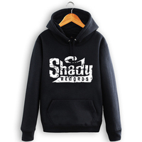 Allover Logotipo detroit Camisola do hoodie Eminem SHADY RECORDS Unisex Preto S-3XL