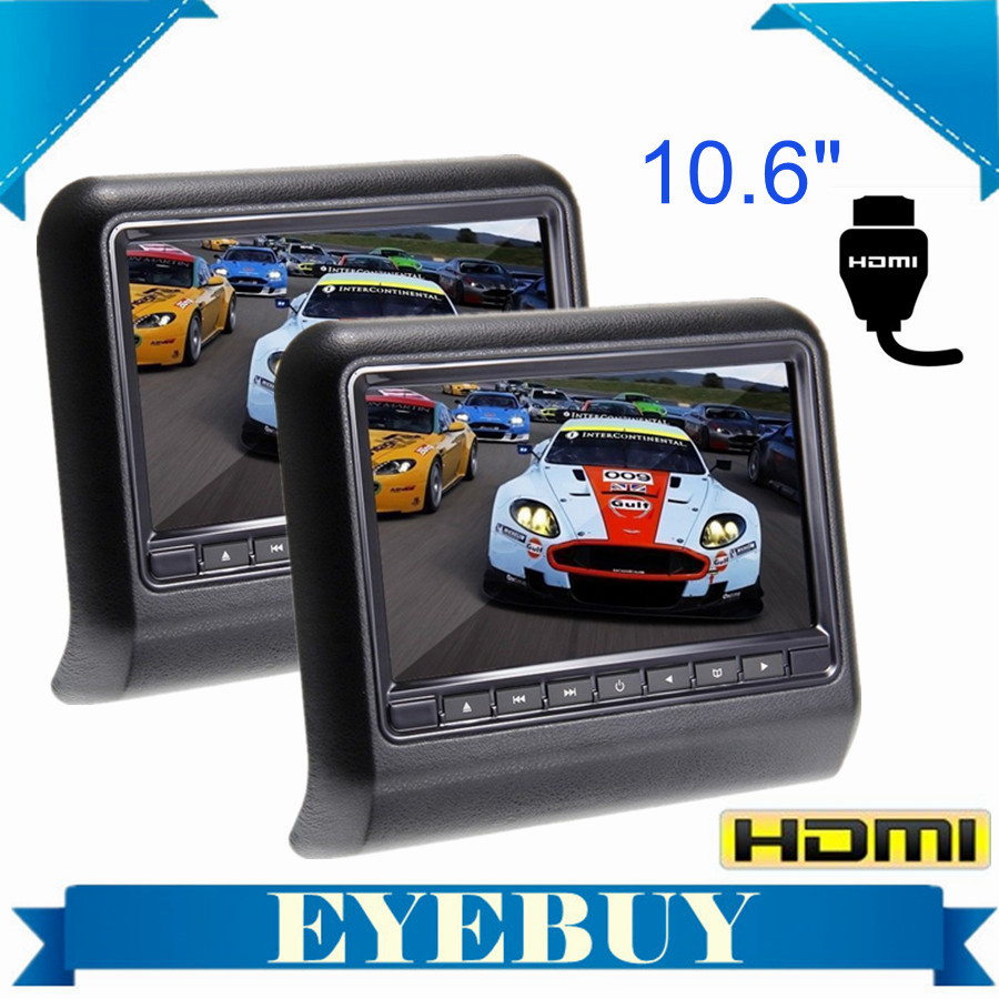 10 6 HD Digital LCD Screen Car Headrest pillow Monitor DVD USB SD video Player HDMI