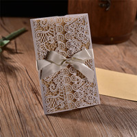 20pcs 4 In 1 With White Hollow Laser Cut Wedding Invitations Engagement Wedding Invitation Card With