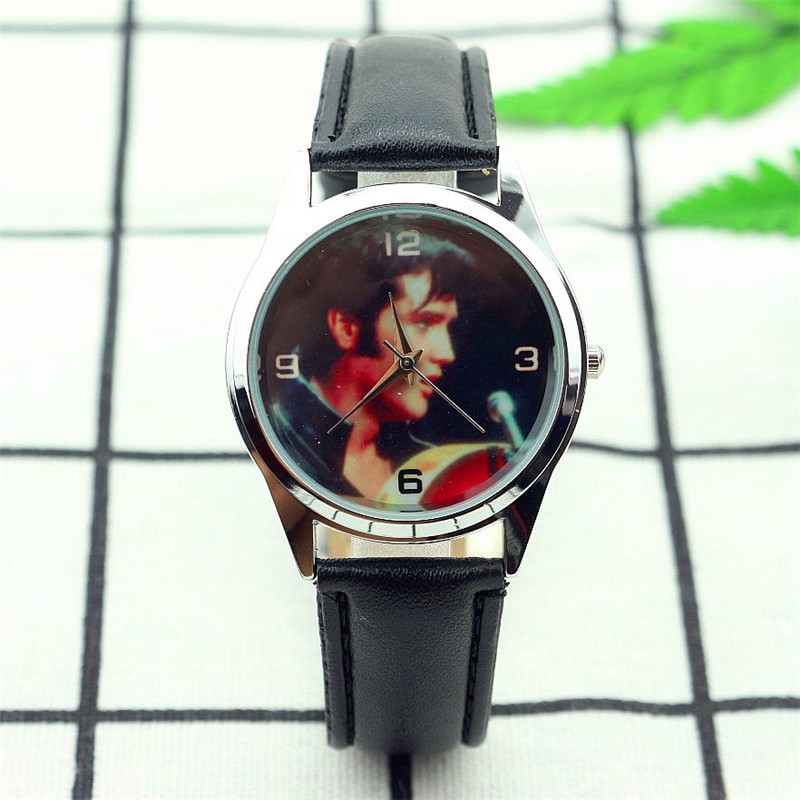 Elvis Presley fashion wrist watch for women and men student luxury brand black leather gift