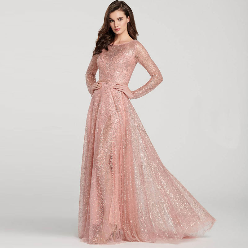 Fashion Sparkle Long Evening Dress New Round Collar Long Sleeve Formal Dress Women Elegant Sequin Evening Party Gown Dresses