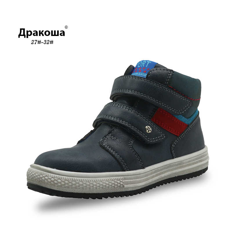 Apakowa Autumn Boys Boots Pu Leather Ankle Boots New 2017 Flat Sneakers for Boys Arch Support Toddler Kids Shoes EU 27-32