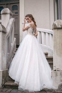 Image 3 - Scoop Tulle Neckline Splice Beading Lace Applique Short Sleeves A line Wedding Dress Sweep Train Lace up Back Bridal Dress