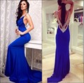 2016 Sexy elegante cuello en V baile Vestidos largos con cuentas Backless siren equipada azul real partido Prom Vestidos de noche Vestidos ZY1188