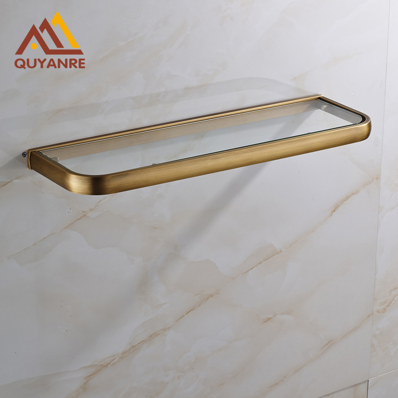 Brass and Glass Material Bathroom Shelves Antique Brass Wall Mount Single Tier Shlef Shower Accessories