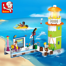 цена на 278Pcs Girl Friends Pink Dream Pier Wharf Beacon Lighthouse Building Blocks DIY Bricks Toys for Children