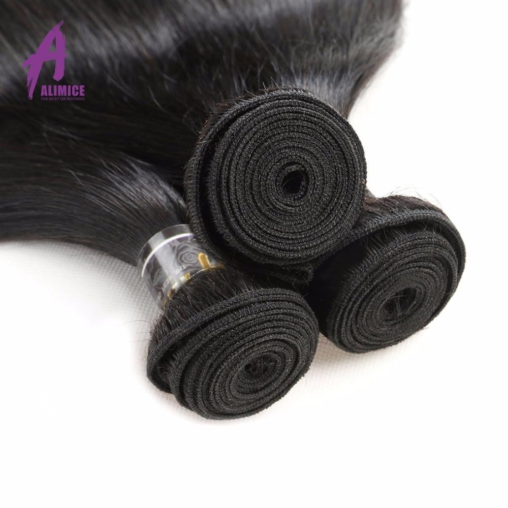 Alimice Hair Brazīlijas taisnas Remy matu aušanas komplekti 100% - Cilvēka mati (melnā krāsā) - Foto 3