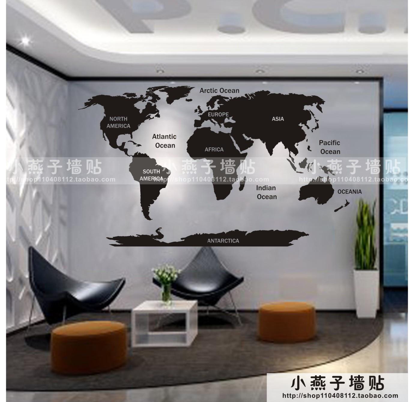 <font><b>New</b></font> Arrival Map Of World Vinyl <font><b>Wall</b></font> Decal World Map Skyline Building Art <font><b>Wall</b></font> Sticker <font><b>Office</b></font> <font><b>Living</b></font> <font><b>Room</b></font> <font><b>Bedroom</b></font> Home Decoration