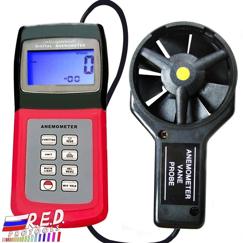 Anémomètre numérique à main 3 vitesses multi-fonction vitesse Air vent débit température vitesse Beaufort échelle
