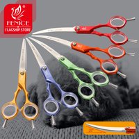 Fenice VG10 Stainless Steel 6 Inch Pet Dogs Gromming Scissors Curved Shears Sharp Animals Cat Hair Cutting Barber Cutting Tools