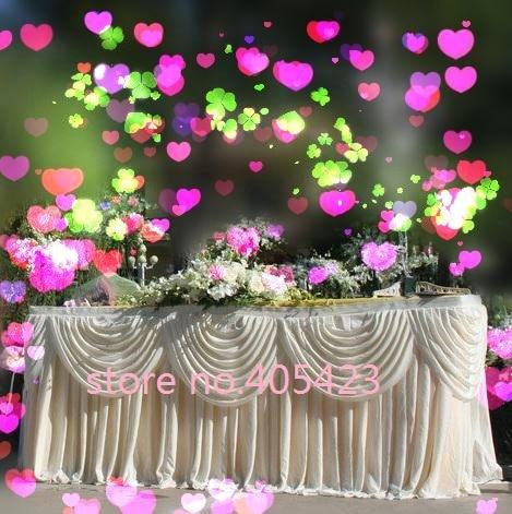 13ft * 29 '' (3.96M * 0.75M) Bílá luxusní Svatební lesklý stůl z ledového hedvábí Sukně s lupem