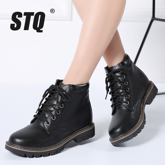 f69747af31c9 STQ 2018 Winter women leather ankle boots women high buckle lace up  Motorcycle Boots flat heeled boots female casual boots 910