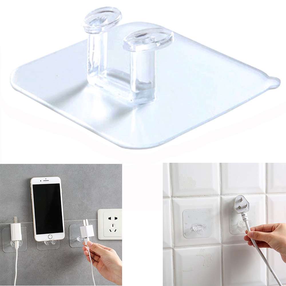 Binmer Phone Holders Stands Practical Transparent Plastic Plug Hook Storage Wall Door Mobile Phone Holder Hook 8d1107 Dropship High Quality
