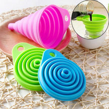New Silicone Gel Practical Collapsible Foldable Silicon Kitchen Funnel Hopper Tool Set