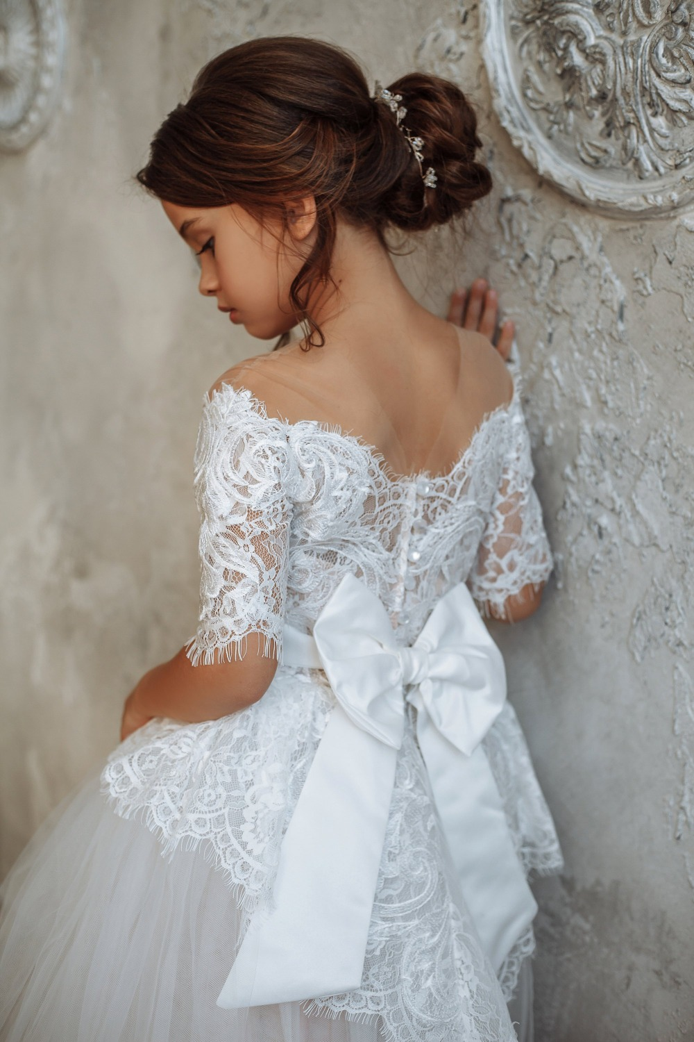 White Ivory Ball Gown   Flower     Girl     Dresses   for Weddings Tulle Princess Lace Half Sleeve Holy First Communion Gowns