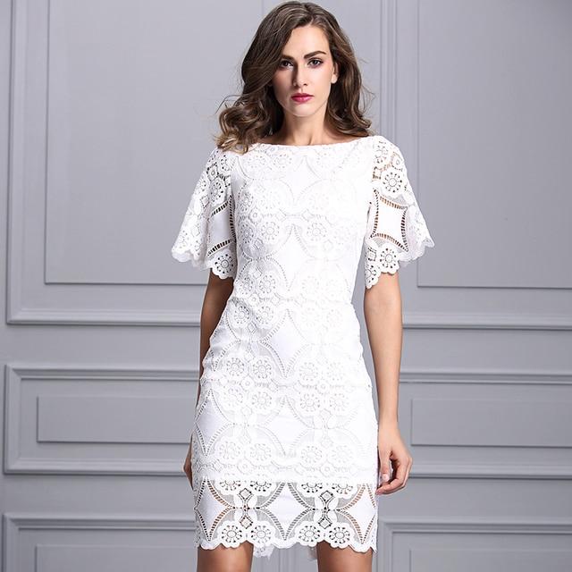 eb19ba7483a Elegante Italia marca de 2019 nueva moda Primavera otoño mujer vestido de  encaje de la manga
