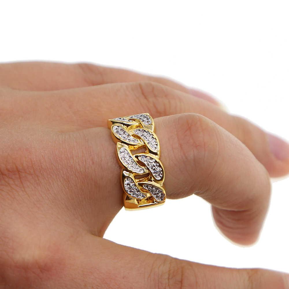 Nowy mans trendy 2019 pierścionki złoty kolor najwyższej jakości bling bling ice out AAA CZ hip hop punk pierścień w znajdź najnowsze promocje i kubański link łańcuch