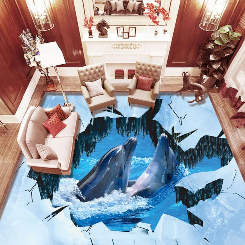 ФОТО Free Shipping 3D Stereo Dolphin Love Glacier crack self-adhesive thickened bathroom kitchen lobby study bedroom wallpaper mural