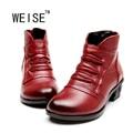 Weise nova chegada 2017 moda botas mulheres genuínas sapatos de couro botas de inverno mulheres botas de neve quente sapatos de inverno de pelúcia