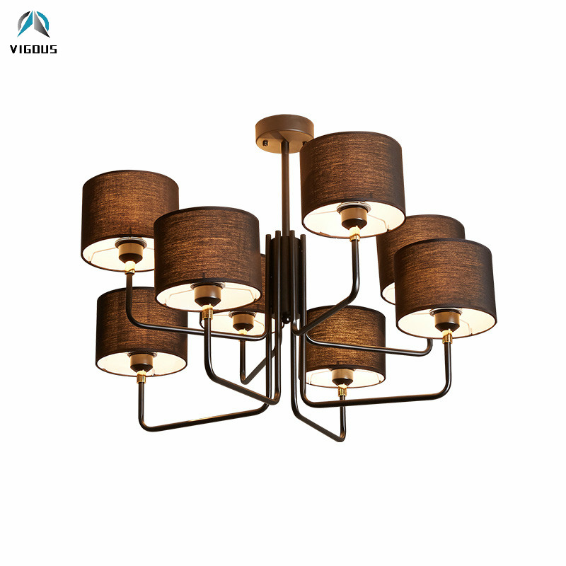 Minimalism Metal & Fabric Lampshades Chandelier E27 Led Pendant Chandelier Lighting For Living Room Indoor Luminaria LamparasMinimalism Metal & Fabric Lampshades Chandelier E27 Led Pendant Chandelier Lighting For Living Room Indoor Luminaria Lamparas