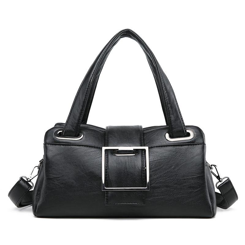 Black Women\'S Handbag Ladies Satchel Shoulder Messenger Bag Woman Grey Violet Soft Leather Tote Bags For Women