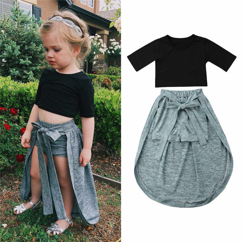 3bd19e1d939 Trendy Toddler Kids Girls Clothes round neck Half sleeve pullover Tops  solid bandage Shorts 2pc cotton