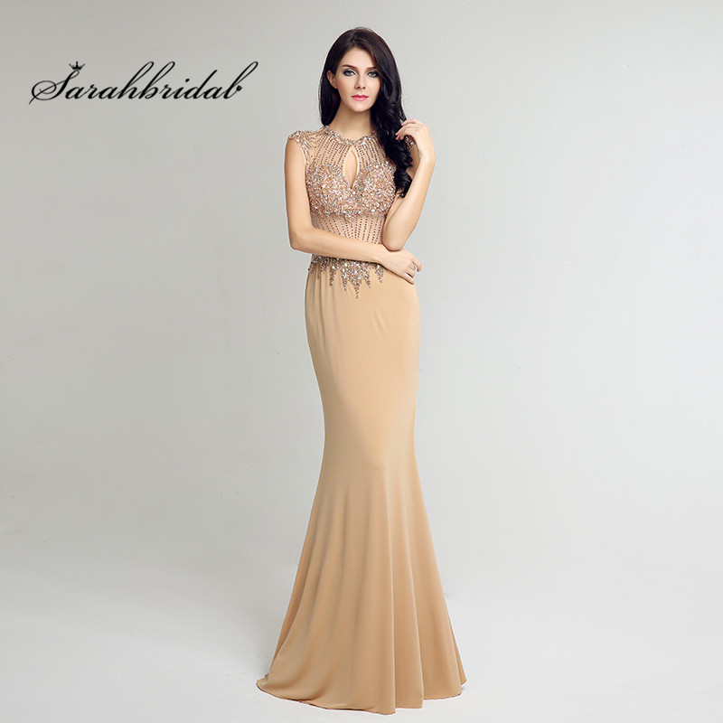 Sexy Long Mermaid   Prom     Dresses   Champagne Lycra O-Neck Sleeveless Crystal Beads Evening Gown Backless Floor Length Illusion CC233