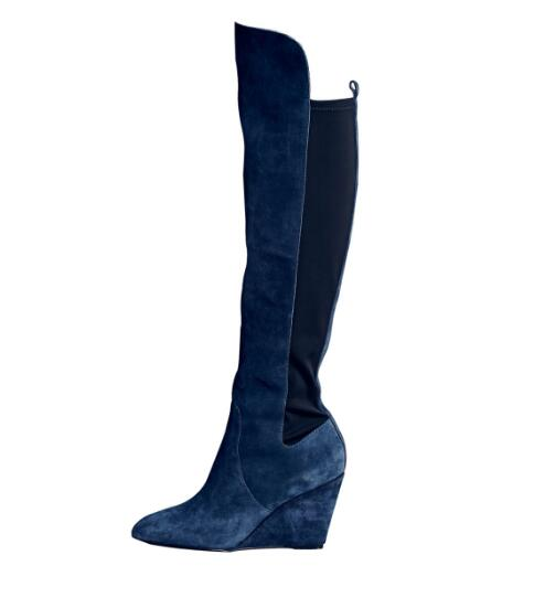 Spring and autumn woman blue wedges high heel knee high boots Ladies round toe super high heel long boots Dress shoes SIZE34-43 white high heel knee high long boots for woman ladies solid super high chunky heel half boots round toe fashion boots dress shoe