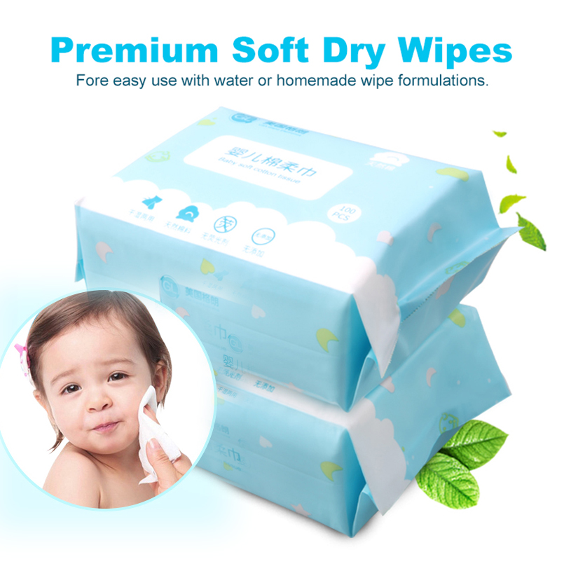 Купить с кэшбэком GL 6 Packs 600 Count 100% Pure Cotton Baby Wet Wipes Dry Wet Dual-use Tissue Baby Kids Care Safe Soft Sensitive for Home Travel