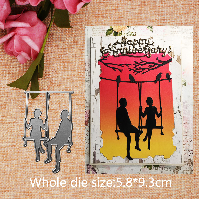 Swing Couple Metal Cutting Dies Stencils For DIY Scrapbook Paper Card Decorative Craft Embossing Valentine 39 s Day 5 8 9 3CM in Cutting Dies from Home amp Garden