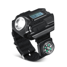 PANYUE 10PCS LED Wrist Watch Flashlight Morning/Night Run Tactical Lighting With Time Display Cable Built-in battery