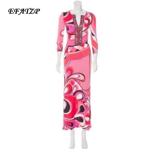 Nowy 2017 Fashion Designer długa sukienka damska 3/4 rękaw kolorowe geometria drukuj dekolt w serek koszula jedwab elastan sukienka w dużym rozmiarze w Suknie od Odzież damska na  Grupa 1