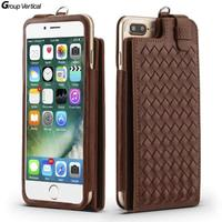 Group Vertical Vintage Designed Flip Cover Braid Leather Wallet Phone Case For IPhone 7 With Card