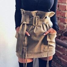 For Insider Casual brown office high waist skirt Women work elegant belt paper bag skirt Female mini pocket ruffle bodycon skirt
