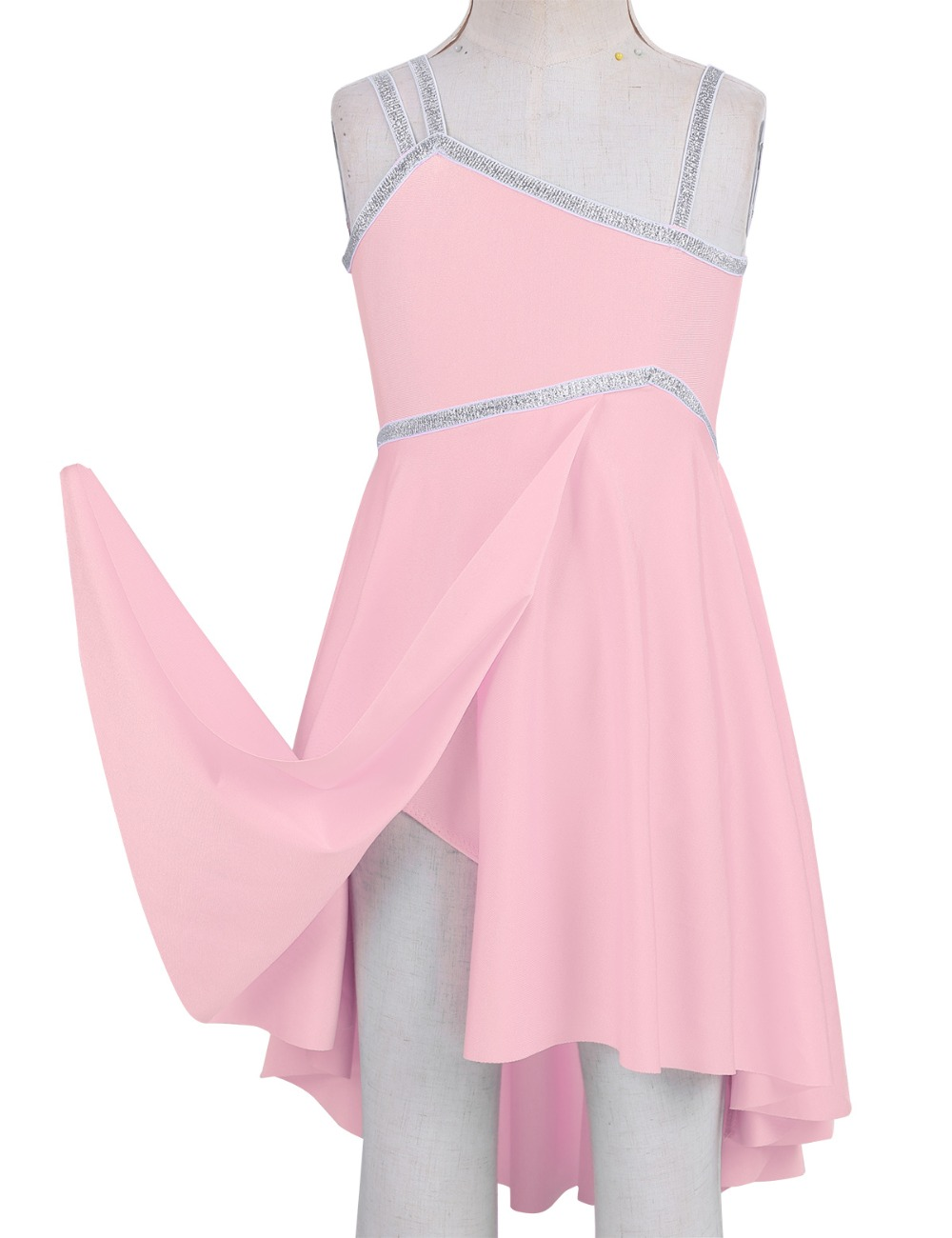 iixpin Kids Girls Shiny Sequins Stage Performance High-Low Hem Mesh Dress Ballet Dance Tutu Skirt Ballerina