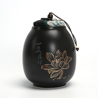 sealed tea Caddy ceramic canister puer tea cans small seal tea gift packaging box lotus design
