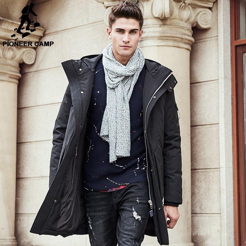Пионерский лагерь Толстая зимняя куртка-пуховик мужские теплая Новая модная брендовая одежда наивысшего качества длинные пуховики для мужчин 90% белый утиный пух 611607