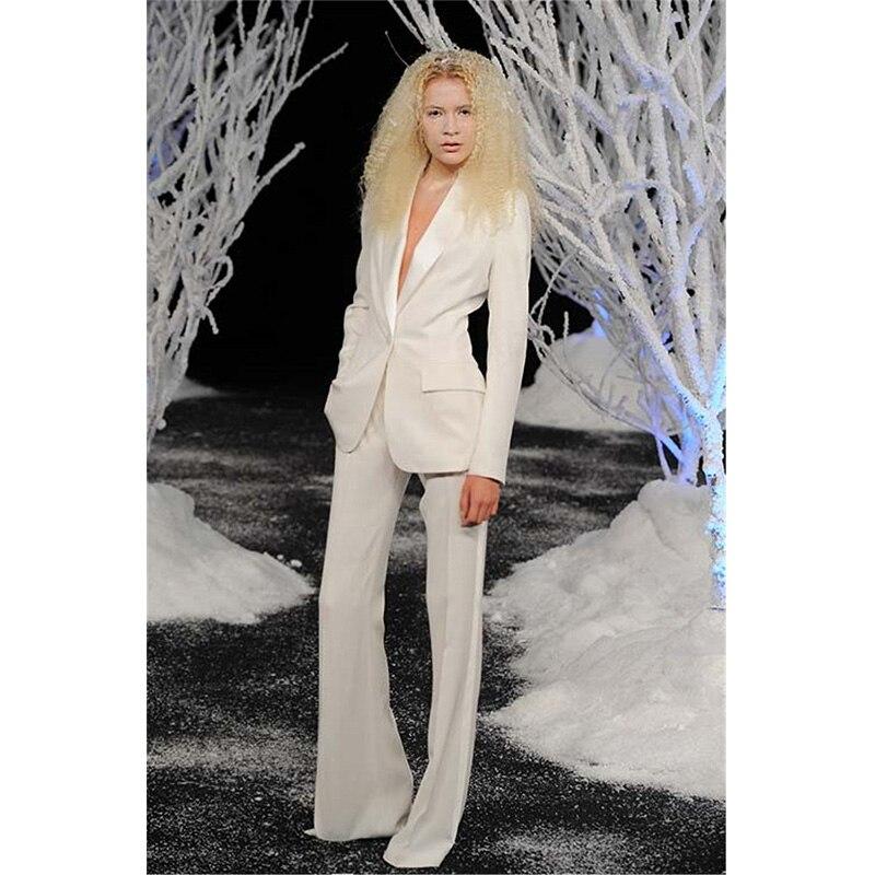 Women Ivory Tuxedo Tuxedo Lapel Suit Women's Suit Office Stylish Pant Suits One Button Women Business Suits
