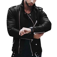 SHUJIN Plus Size Leather Jacket Men Autumn Fashion Long Sleeve Stand Collar Jacket Winter Zipper Patchwork Faux Leather Coat