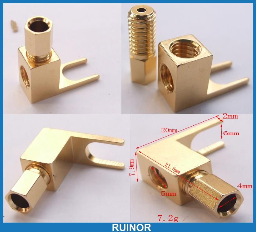 ФОТО 20pcs Copper Speaker Tuning Fork Terminal Spade for Amplifiers 4mm Banana Plug
