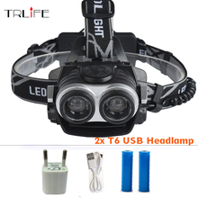 10000Lumnes LED Headlight 2*CREE XML T6 Zoom Headlamp High Power Head Lamp USB Rechargeable Lantern Light For 18650 Battery