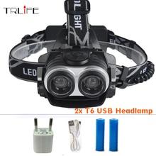10000Lumnes LED Headlight 2*CREE XML T6 Zoom Headlamp High Power Head Lamp USB Rechargeable Lantern Light For 18650 Battery